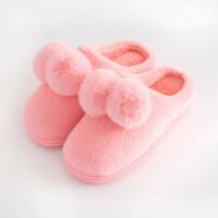 韩版半包跟室内家居家毛毛鞋防滑可爱卡通棉拖鞋女