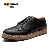 西瑞休闲鞋男士布洛克雕花英伦男鞋子新款韩版男士休闲皮鞋青年潮6355