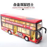 儿童玩具车双层巴士车模客车仿真模型合金小汽车公共汽车公交车