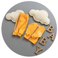 婴儿套装春秋纯棉0-3个月5新生儿长袖两件套6男女宝宝百天衣服潮9