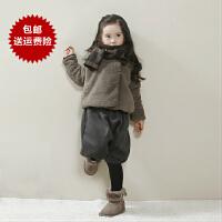 儿童女宝宝珊瑚绒毛毛衣女童外套仿皮草秋冬季加绒加厚女大童短款