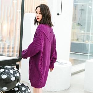 七格格针织连衣裙女装2018春装韩版宽松时尚显瘦中长款假两件半高领毛衣