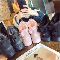 雪地靴女冬季新款韩版蝴蝶结平底休闲短筒靴子防滑保暖女棉鞋