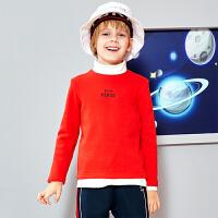 【2件3折到手价:65.4】小猪班纳童装男女童长袖t恤纯色加绒上衣2019冬季新款宝宝休闲衫