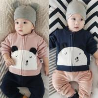 新款婴儿加绒上衣冬季男女宝宝拉链衫保暖外套0-1岁冬装外出服潮