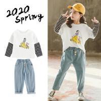 女童套装牛仔裤两件套2020新款春时髦儿童中大宽松小童弹