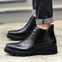 CUM 高帮男鞋秋季新款潮鞋中帮板鞋男士短靴潮英伦皮鞋个性休闲鞋