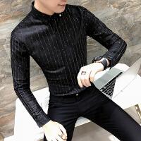 衬衫男长袖2018春季新款发型师夜店韩版潮流寸衫条纹小领衬衣男装