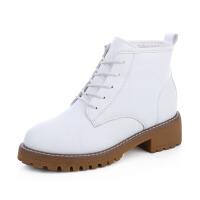 加绒复古马丁靴女英伦风学生百搭保暖女靴子韩版加厚系带短靴