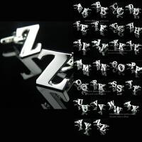 A-Z全款26英文字母袖扣袖钉男法式衬衫
