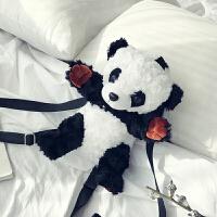 夏天小包包女2018新款潮可爱萌少女熊猫小背包时尚撞色双肩包女包 黑白