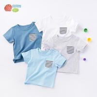 【2件3折】贝贝怡儿童短袖t恤 男女童夏季新款海军风纯棉上衣192S2084