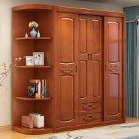 中式实木衣柜推拉门储物柜橡木4门移门四门木质大衣橱卧室角柜 4门 组装