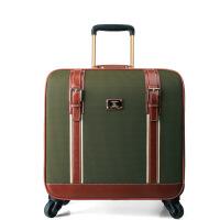商务复古拉杆箱万向轮旅行箱牛津布行李箱包拉杆箱 绿色