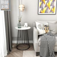 北欧大理石现代简约沙发边几柜迷你小茶几角几客厅铁艺小圆桌子定制