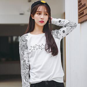 秋冬季新款套头小清新印花薄款女长袖t恤韩版大码宽松女士外套