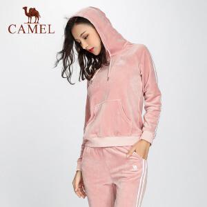 camel骆驼秋新款运动装御寒暖绒休闲女装金丝绒连帽卫衣长裤两件套