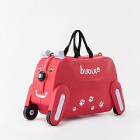 儿童行李箱女可坐可骑男卡通宝宝坐骑小学生可爱旅行箱19寸 西瓜红 19寸