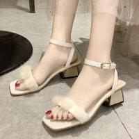户外一字带中跟女士凉鞋时尚粗跟方头韩版百搭配裙子的鞋