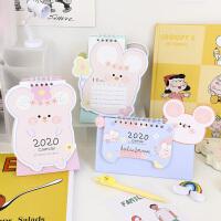 2020年创意卡通立体台历桌面摆件清新可爱萌鼠日历月历记事本挂历