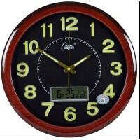 静音夜光钟表客厅卧室挂钟简约现代万年历日历石英钟表