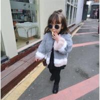 冬款婴幼儿童宝宝三色兔毛皮草双层夹棉圆领毛毛外套上衣
