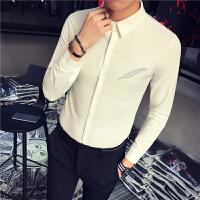 男长袖免烫衬衫青少年韩版修身纯色时尚衬衣发型师工作服