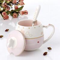 创意情侣马克杯办公室水杯子陶瓷可爱咖啡杯带盖勺个性骨瓷牛奶杯