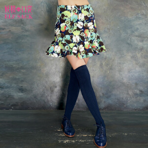 妖精的口袋花图册夏装女时尚显瘦印花A字裙欧美百搭半身裙短裙女