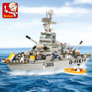 【当当自营】小鲁班海军舰队军事系列儿童益智拼装积木玩具 巡洋舰M38-B0126