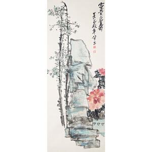 H1794  吴昌硕《富贵眉寿图》(原装旧裱满斑)