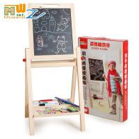 木丸子儿童玩具支架式双面磁性可升降黑白写字板木制儿童玩具画板