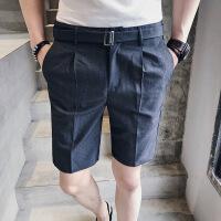 夏装新款男士腰带装饰色五分裤潮青年发型师直通休闲短裤男裤