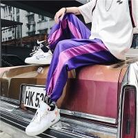 夏季潮流运动休闲裤男个性拼接撞色裤脚口抽绳青少年街头嘻哈男裤