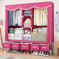 简易布衣柜钢管加粗加固牛津布艺柜双人加厚钢架组装挂衣橱收纳柜