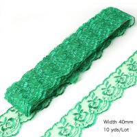 蕾丝花边辅料做裙子边 4cm宽刺绣花边蕾丝带雷丝裙子窗帘材料做沙发垫套罩边的装饰辅料 40mm 绿色 10码/约9米