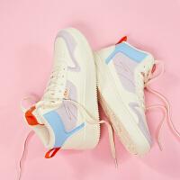 安踏休闲板鞋女2020新款潮流高帮白色运动鞋旅游平板鞋鞋子922038010