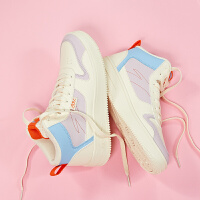 【满99-20】安踏休闲板鞋女2021新款潮流高帮白色运动鞋旅游平板鞋鞋子922038010