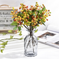 乡村仿真花假绢花单支加州浆果多色客厅餐厅装饰仿真植物干花插花