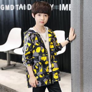 儿童外套 男童连帽碎花迷彩开衫上衣秋季韩版新款时尚休闲中大童款式风衣