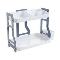 【新品特惠】双层组合置物架厨房调料架调味瓶架子浴室塑料化妆品收纳架