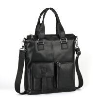 男士手提包竖款商务公文包头层牛皮便携挎包休闲男包 黑色