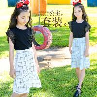 女童套装2018新款夏装韩版中大童短袖T恤儿童格子半身裙两件套潮
