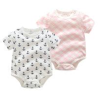 婴儿连体衣服宝宝新生儿2季爬爬服1岁5个月款短袖三角哈衣