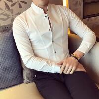 港风秋天衬衫男长袖修身青少年衬衣学生韩版潮流紧身S寸子帅气衣