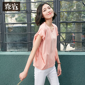 森宿夏装女上衣宽松针织纯色雪纺拼接白色纯棉短袖T恤女短款