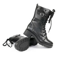 3515羊毛军靴女靴女鞋时尚中筒靴骑士靴机车靴防寒保暖雪地靴粗跟靴欧美英伦潮流靴