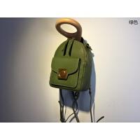 迷你双肩包女小新款百搭背包可爱头层牛皮休闲旅行包mini小包 绿色