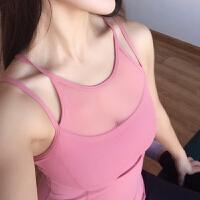 速干瑜伽背心女吊带胸垫秋冬跑步运动美背文胸网纱健身上衣