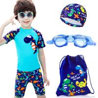 儿童泳衣小中大童男童泳装分体平角宝宝学生温泉游泳衣 四件套
